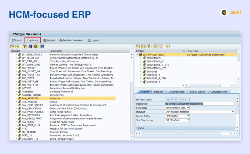 HCM-focused ERP, printscreen (could be ERPAG)